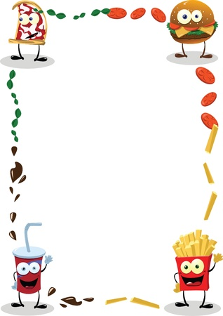 cartoon food: a funny food frame, useful for menus