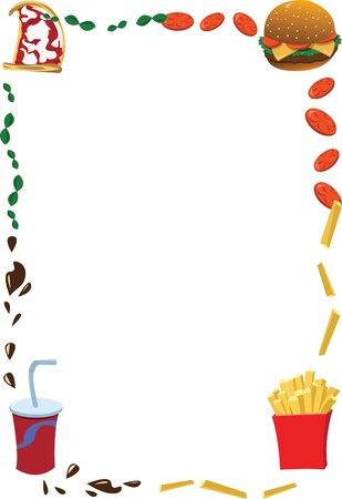 take out food: a vector cartoon representing a fast food frame, useful for menus