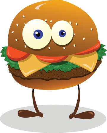 jamon y queso: un sándwich vector divertido, mirando a la cámara Vectores