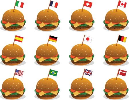 panini: 12 vector sandwiches and 12 different countries