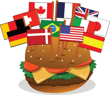 panini: A vector cartoon, representing a sandwich with 12 flags