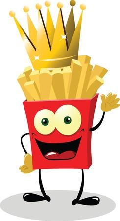 prepared potato: French Fries King Illustration