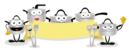 stew pot: a cartoon representing some pots holding a blank banner