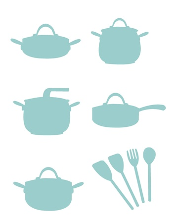 a cartoon representing some silouettes of pots Stock Vector - 21960951