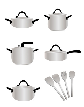 saute: a cartoon representing a cooking set