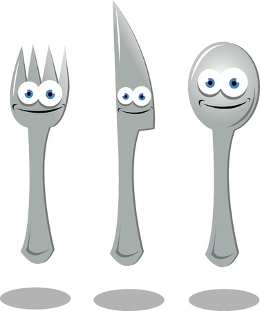 tablespoon: A set of funny Fork, Knife and Spoon