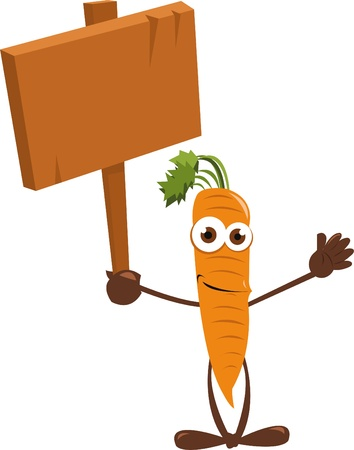 a cartoon representing a funny carrot holding a wooden sign Stock Vector - 21960973