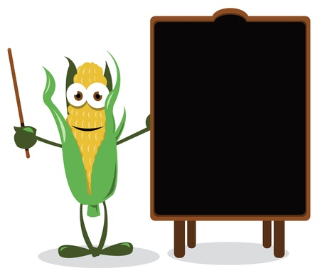 a cartoon representing a funny corn, near a blank blackboard