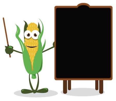 healty food: a cartoon representing a funny corn, near a blank blackboard