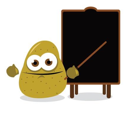 healty food: funny potato pointing a blackboard Illustration