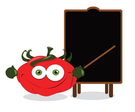 healty eating: a funny tomato showing a blank blackboard