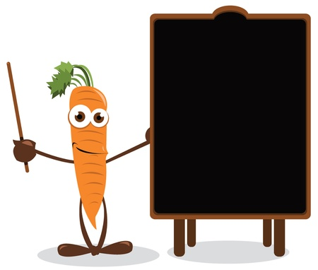 healty eating: Funny Carrot Pointing a Blackboard Illustration