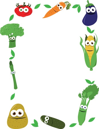 healty lifestyle: A funny frame maiden of cartoon vegatables, every object is singly grouped