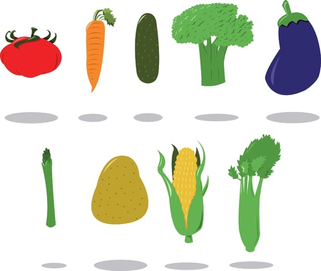 raw potato: Group of Vegetables Illustration
