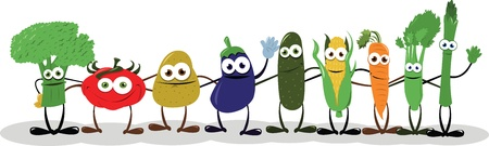 a group of funny vegetables embracing