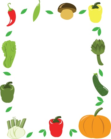 healty lifestyle: Funny Vegetables Vector Frame Illustration