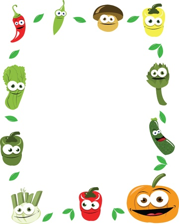 healty lifestyle: a vector frame maiden of funny vegetables, every object is singly grouped   Illustration