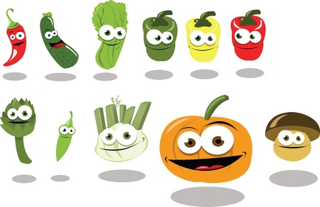 Funny Vegetables Stock Vector - 22095969