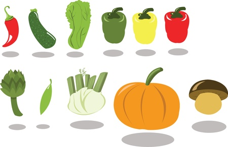 singly: A group of vegetables, every object is singly grouped