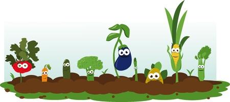 Funny Veggie Garden Vector