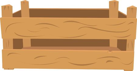 a vector cartoon representing a wooden crate. The front part and the back are in different layers, so you can easily put items inside of it.