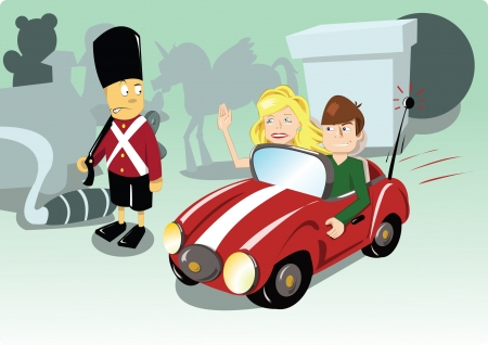 Poor little soldier...hes too old for her, and he doesnt drive a car! Illustration