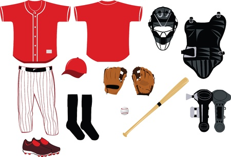 baseball catcher: A vector cartoon representing all you need to play baseball game