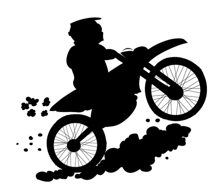 enduro biker silhouette Vector