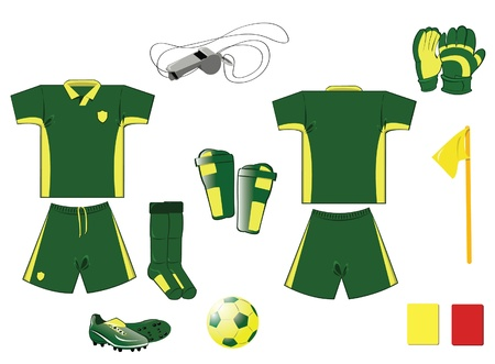 complete Green and yellow soccer equipment Vector