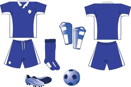 blue and white soccer equipment Stock Vector - 22096127