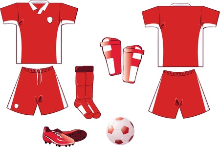 red and white soccer equipment Stock Vector - 22096128