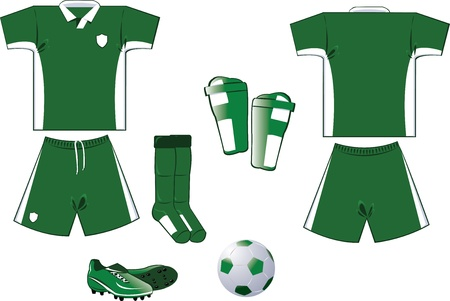 green and white soccer equipment Stock Vector - 22096129