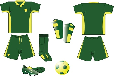 Green and yellow soccer equipment Illustration