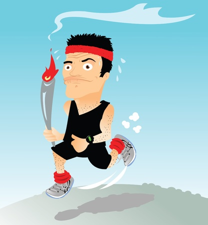 Runner with torch Stock Vector - 22067873