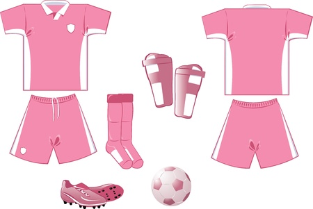 athleticism: white and pink soccer equipment Illustration