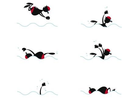 butterfly stroke: Funny Man Swimming