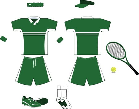 Green and White Tennis Equipment Stock Vector - 22067904