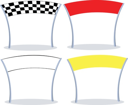 starting line: 4 different colors of a finish line. 3 with copy space