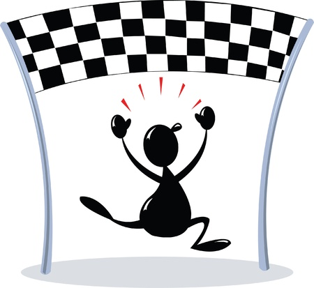 Crossing Finish line - chequered flag Illustration