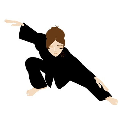 Tai Chi Woman with Black Kimono Vector