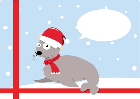Funny Christmas Seal Stock Vector - 22061307