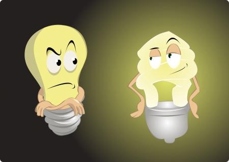 compact fluorescent lightbulb: old light bulb vs energy saving