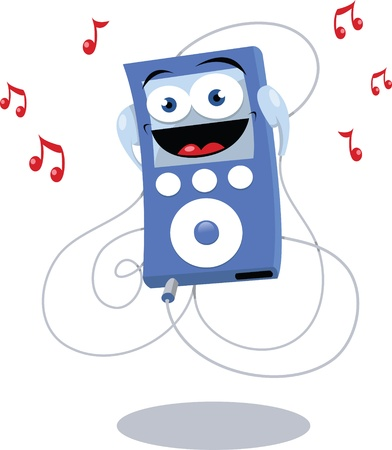 mp3 player: cartoon representing a funny blue mp3 player