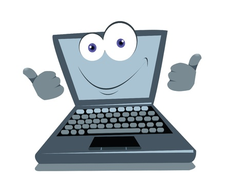 laptop vector: a vector cartoon representing a funny laptop, expressing posivity Illustration