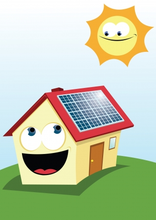 solar equipment: cartoon representing a funny house with solar panels