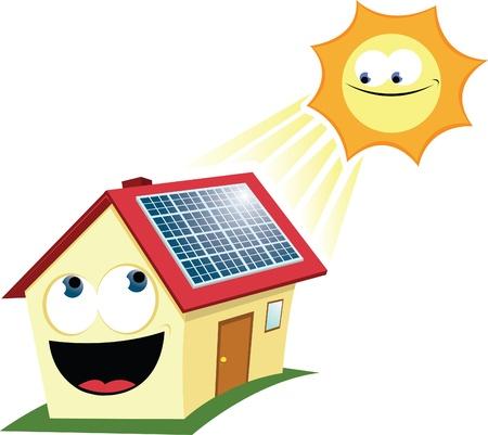 solar equipment: dibujos animados que representa una casa divertida con los paneles solares