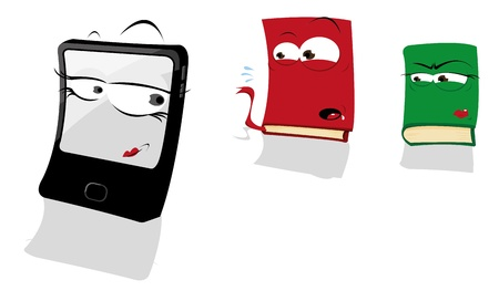 Book in Love with a Tablet Vector