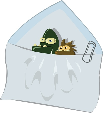 a spam e-mail and 2 viruses going outside from it Stock Vector - 22005839