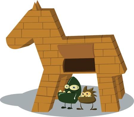 cavallo di troia: due virus tojan in piedi di fronte al cavallo