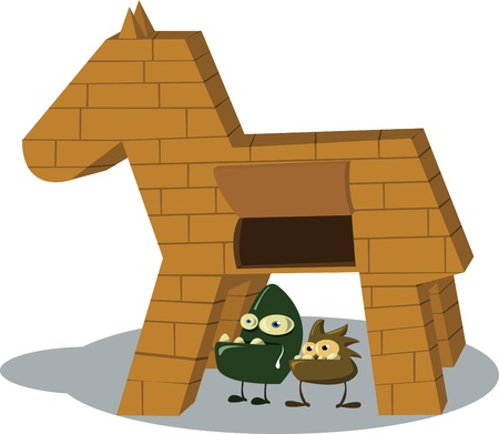 two tojan viruses standing in front of the horse Stock Vector - 22005841